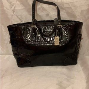 COACH Black Patent Leather Tote Bag #1432